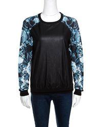 Roberto Cavalli - Gym Faux Leather Detail Raglan Sleeve Sweatshirt S - Lyst