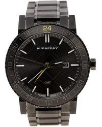Burberry - Gunmetal Ion Stainless Steel Gmt Bu9340 Men's Wristwatch 43 Mm - Lyst