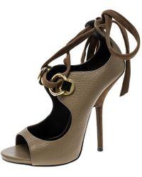 79a4a065efe Giuseppe Zanotti - Beige Leather Alien Open Toe Ankle Tie Up Sandals Size  39.5 - Lyst
