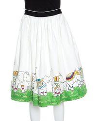 Alice + Olivia - Off White Elephant Picnic Print Gathered Cotton Skirt M - Lyst