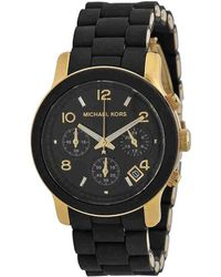 Michael Kors - Pvc And Yellow Gold Plated Steel Runway Mk5191 Women's Wristwatch 38mm - Lyst