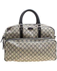 415fa780fa6 Gucci - Beige blue GG Supreme Canvas And Leather Diaper Bag - Lyst