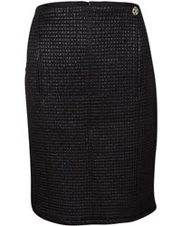 Chanel - Lurex Frayed Trim Detail Quilted Pencil Skirt L - Lyst