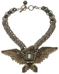 Lanvin - Crystal Embellished Eagle Gold Tone & Fabric Necklace - Lyst