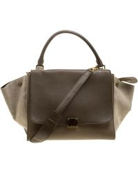 68521b91280a Céline -  taupe Leather And Canvas Medium Trapeze Tote - Lyst