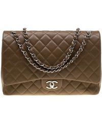 a28852d1dda35c Chanel - Brown Quilted Caviar Leather Maxi Classic Double Flap Bag - Lyst