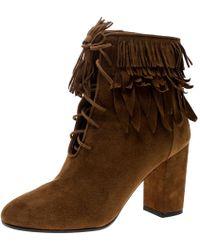 Aquazzura - Cognac Suede Woodstock Fringe Detail Ankle Boots - Lyst