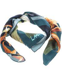 Lanvin - Floral Printed Silk Satin Square Scarf - Lyst