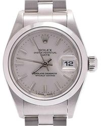 Rolex - Silver Stainless Steel Oyster Perpetual Date Women's Wristwatch 25mm - Lyst