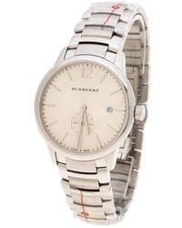 Burberry - Beige Stainless Steel Classic Bu10004 Men's Wristwatch 40 Mm - Lyst