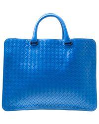Bottega Veneta - Intrecciato Leather Flat Briefcase - Lyst