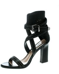 Barbara Bui - Black Laser Cut Motif Perforated Leather Ankle Cuff Strappy Block Heel Sandals Size 37 - Lyst