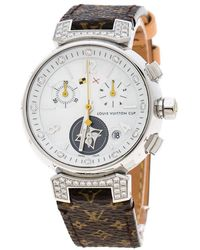 Louis Vuitton - White Mother Of Pearl Stainless Steel Diamonds Tambour Q132h Women's Wristwatch 34 Mm - Lyst