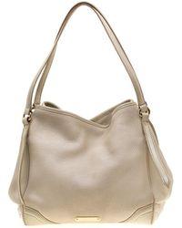 4c6a25dea9fe Burberry - Cream Leather Small Canterbury Tote - Lyst