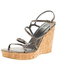 Stuart Weitzman - Silver Embossed Snakeskin Leather Cork Wedge Strappy Sandals - Lyst