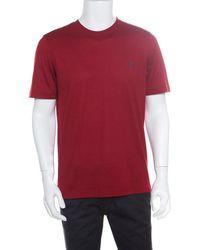77f8573b1e1b Louis Vuitton - Red Cotton Logo Embroidered Short Sleeve T-shirt L - Lyst