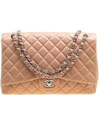 ca61300a3a17 Chanel - Dusty Pink Quilted Leather Maxi Classic Single Flap Bag - Lyst