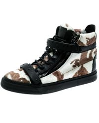 c16cb6e277d4e Giuseppe Zanotti - Tricolor Calf Hair And Leather Trim Camouflage High Top  Trainers Size 39.5 -