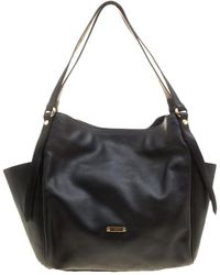 Burberry - Black Leather Small Canterbury Tote - Lyst