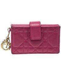 Dior - Fuchsia Cannage Leather Gusset Card Holder - Lyst