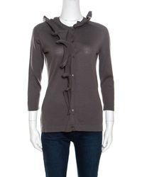 Céline - Wool Ruffled Asymmetric Neckline Detail Button Front Cardigan M - Lyst