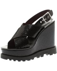 Marc By Marc Jacobs - Black Embossed Snakeskin Leather Irving Cross Strap Wedge Sandals Size 35.5 - Lyst