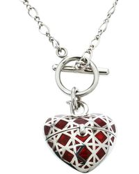 Dior - Secret Heart Enamel Cannage Silver Tone Toggle Pendant Necklace - Lyst