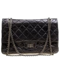 Chanel - Black Quilted Leather Reissue 2.55 Classic 227 Flap Bag - Lyst