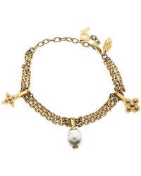 Louis Vuitton - Faux Pearl Tone Charm Bracelet - Lyst
