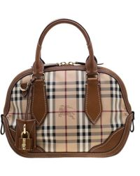 7e8929381642 Burberry - Brown Haymarket Check Pvc And Leather Dome Satchel - Lyst