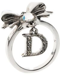 Dior - Bow Crystal Embellished Tone Ring - Lyst