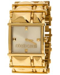 Roberto Cavalli - Tone Stainless Steel Rectangle Women's Wristwatch 27 Mm - Lyst
