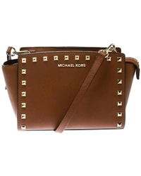 MICHAEL Michael Kors - Leather Medium Studded Selma Crossbody Bag - Lyst 86a5d549a99ce