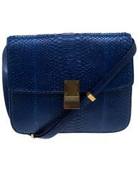 Céline - Python Large Classic Box Shoulder Bag - Lyst