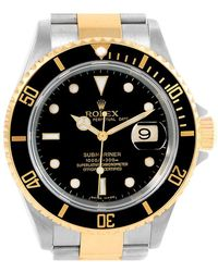 Rolex - Black 18k Yellow Gold And Stainless Steel Submariner Men's Wristwatch 40mm - Lyst