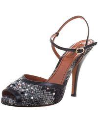 Missoni - Embellished Patterned Knit Ankle Strap Sandals - Lyst