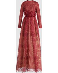 Costarellos - Peplum Long-sleeved Lace Gown - Lyst