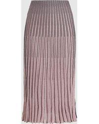 Cedric Charlier Pleated Metallic-knit Midi Skirt