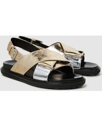 Marni - Silver Gold Fusbett Leather Sandals - Lyst