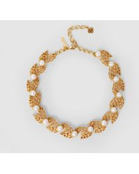 Oscar de la Renta - Faux Pearl-embellished Gold-tone Necklace - Lyst
