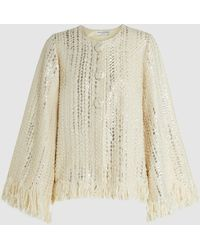 Madiyah Al Sharqi - Fringed Metallic Woven Jacket - Lyst