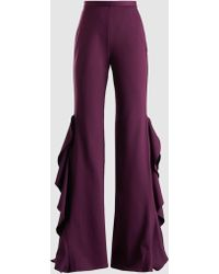 Madiyah Al Sharqi - Ruffled Crepe Flared Trousers - Lyst