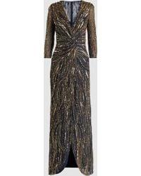 Jenny Packham - Phoenix Long Sleeve Gold Bead Twist Front Gown - Lyst