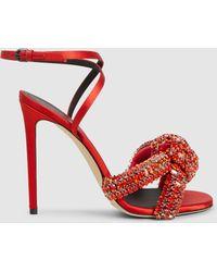 Marco De Vincenzo - Knotted Crystal-embellished Satin Sandals Red - Lyst