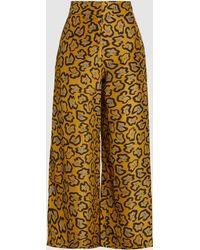 Christian Wijnants - Parise Printed Silk Wide-leg Trousers - Lyst