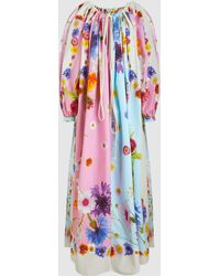 Natasha Zinko - Floral Printed Cotton Drawstring Maxi Dress - Lyst