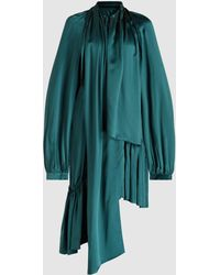 Ann Demeulemeester - Asymmetric Hem High Neck Silk Dress - Lyst