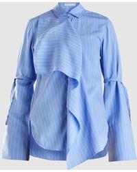Palmer//Harding Ruffled Striped Woven Shirt
