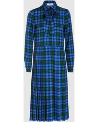MSGM - Tartan Crepe Midi Dress - Lyst