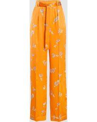 Equipment Evonne Printed Silk-satin Trousers - Orange